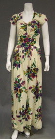Vibrant Floral Nylon 1940's Dinner Evening Dress