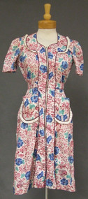 NOS Hibiscus & Pagoda Print Cotton 1940's House Dress