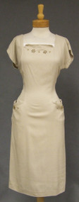 Khaki Rayon 1950's Wiggle Dress w/ Gold Stud Trim