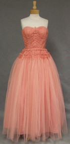 STUNNING Salmon Tulle & Organdy Strapless 1950's Ball Gown