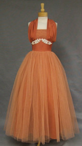 Superb Russet Tulle 1950's Halter Ball Gown