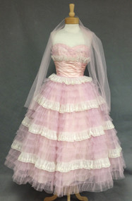 Lavender Tulle & Embroidered Ivory Nylon Early 1960's Prom Dress