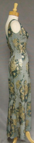 Curvaceous Green & Gold Metallic 1960's Evening Gown w/ Fishtail