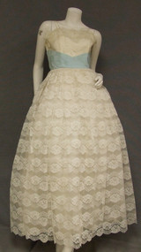 Ivory Lace & Blue Taffeta 1950's 1960's Evening Gown Dress Prom Wedding
