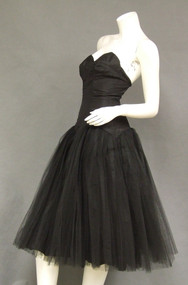 Black Silk Taffeta & Tulle 1950's Bombshell Strapless Cocktail Dress Full Skirt