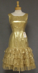 Gold Lame & Metallic Lace Vintage 1960's Cocktail Dress
