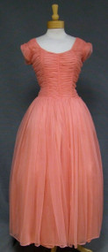 Elegant Salmon Chiffon 1950's 1960's Evening Gown Dress XL