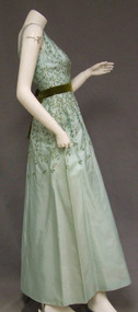 Embroidered Aqua Taffeta 1960's Evening Dress
