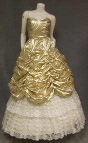 Gold Lame & Ivory Lace Strapless 1980's Ball Gown Prom Dress