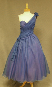 Vintage 1980's Prom Dress One Shouldered Cobalt Blue Full Skirt