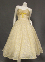 Vintage 1950's Prom Dress AMAZING Cream & Yellow Embroidered Chiffon Strapless Full Skirt