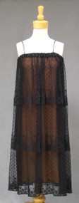 Anthony Muto Vintage 1970's Cocktail Dress Pleated Black Lace Illusion