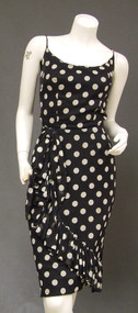 1950's 1960's Polka Dot Wiggle Cocktail Dress Black & White