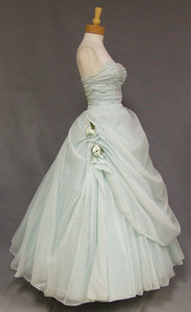MARVELOUS Blue Chiffon Strapless 1950's Princess Ball Gown w/ Draped Skirt