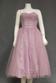 Lavender Lace & Tulle Strapless 1950's Prom Dress