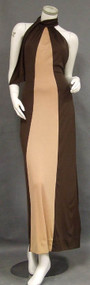Slinky Mr. Blackwell Two Toned 1970's Halter Evening Dress