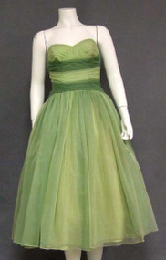 Amazing Green Ombre Chiffon Strapless 1950's Prom Dress