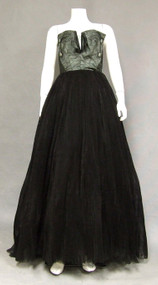 Sensational Aqua Silk & Black Tulle 1950's Strapless Ball Gown