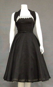 Black Organdy 1950's Halter Cocktail Dress w/ Lace Applique