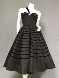 OUTSANDING One Shouldered Black Taffeta 1950s 1950's Cocktail Dress w/ Velvet