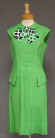 Adele Simpson Lime Green 1960's Dress w/ Polka Dotted Silk Bow
