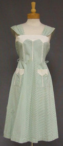Charming Green & Ivory Striped Cotton 1950's Sun Dress w/ Pique Trim