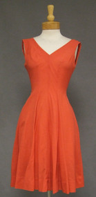 Vibrant Coral Rayon 1950's 1960's Summer Sun Dress