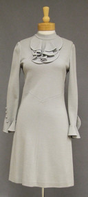 Italian Grey Wool Knit 1960's Day Dress w/ Ruffled Cuffs & Neckline