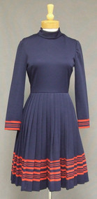 Caryle Navy Blue Knit 1960's Dress Pleated Skirt Red Trim