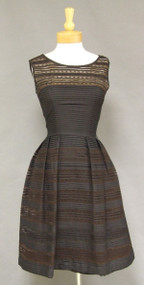 FABULOUS Black Pleated Cotton & Lace 1950's Dress