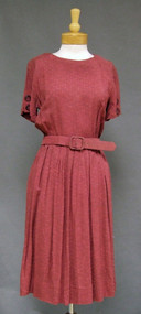 Mauve Textured Rayon 1950's Day Dress Button Sleeves Belt