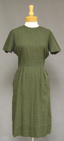 L'Aiglon Green & Black Plaid 1950's 1960's Day Dress