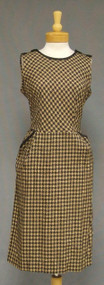 Brown & Black Houndstooth 1950's Sleeveless Day Dress