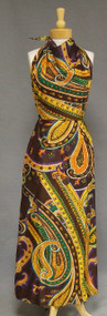 1970's Swirling Paisley Backless Halter Maxi Dress