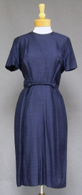 Navy Blue Silk 1950's 1960's Day Dress Braid Trimmed Waist