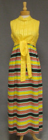 Colorfully Striped 1960's 1970's Sleeveless Maxi Dress