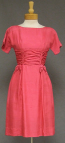 Hot Pink Silk 1960's Day Dress Bow Trimmed Waist