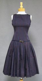Terrific Striped Navy Cotton 1950's Day Dress Belted Dropped Waist Full Skirt