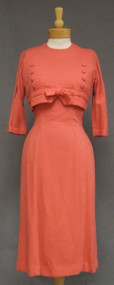 GiGi Young Salmon Wool Knit Fitted 1950's Dress w/ Cropped Topper