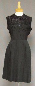 Black Rayon & Satin 1950's 1960's Day Dress w/ Embroidery