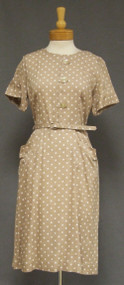 UNWORN Khaki Rayon 1950's 1960's Day Dress w/ Polka Dots