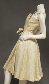 GiGi Young Cream Brocade Vintage 1950s 1950's Cocktail Dress