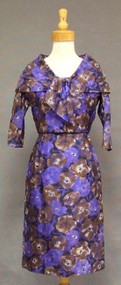 Lilli Diamond Floral Silk 1950's 1960's Dress & Shawl Collared Jacket