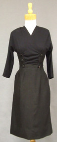 Black Wool & Rayon 1950's Wiggle Dress