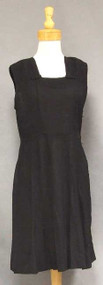 Textured Black Rayon Vintage Day Dress