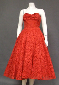 Gorgeous Fiery Red Lace Strapless 1950's Prom Dress w/ Matching Jacket