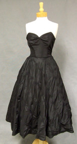 AMAZING 1950's Strapless Black Taffeta Cocktail Dress w/ Matching Jacket