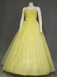 Voluminous Yellow Chiffon 1950's 1960's Ball Gown w/ Taffeta Bustle