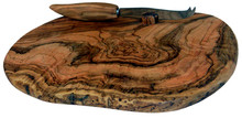Olive Wood Cheese Board with Knife