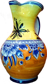 Handpainted Spanish Sangria Pitcher-Yellow and Terracotta with Blue Flowers